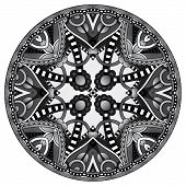 grey decorative design of circle dish template, round geometric