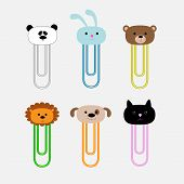 Paperclips With Animal Head Set. Panda, Rabit, Dog, Cat, Lion, Bear. Flat Design.