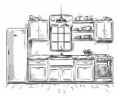 stock photo of interior sketch  - Kitchen interior design  drawing - JPG