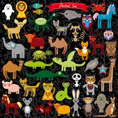 Set Of Funny Cartoon Animals Character On  Black Background. Zoo