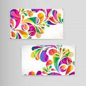 Sample business card with bright teardrop-shaped arches.
