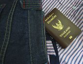 Thailand Passport  In Denim Jeans Pocket