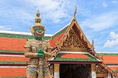 Demon  Guardian Statue At Wat Phra Kaew Temple In Royal Grand Palace, Thailand