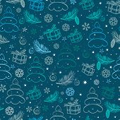 Christmas blue snowy abstract background