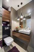 Grey And Wooden Luxury Bathroom