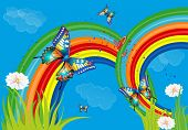 background with rainbow and butterflies,