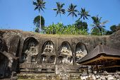 Gunung Kawi is a temple complex in Bali Island centered around royal tombs carved into stone cliffs dating back to the 11th century.