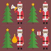 Santa Claus holding objects near ?hristmas tree