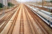 stock photo of railroad yard  - Railway Track Lines - JPG