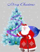 Christmas Blue Christmas Tree And Santa Claus With Bag