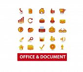 office, document icons, signs, illustrations set, vector