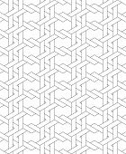 Black And White Geometric Seamless Pattern With Line And Weave Style.