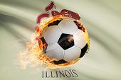 Soccer Ball With Flag On Background Series - Illinois