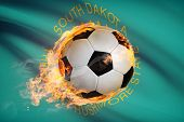 Soccer Ball With Flag On Background Series - South Dakota