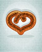 German Heart Shaped Pretzel