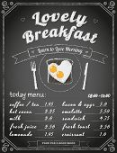 Breakfast menu on the chalkboard