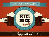 stock photo of yesteryear  - Textured poster of big beer party - JPG