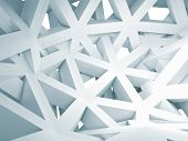 Abstract 3D Background With Chaotic White Construction