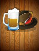 Beer Glass, And  German Oktoberfest Hat
