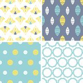 Four abstract fun motives seamless patterns set