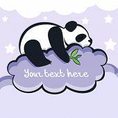 Panda Bear Sleeping On The Cloud, Vector Illustration
