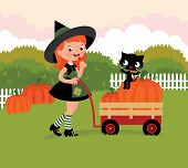 foto of wheelbarrow  - Little girl witch carries wheelbarrow with pumpkins - JPG