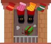 Illustration Featuring Christmas Socks Tacked to the Fireplace