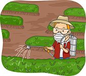 picture of pesticide  - Illustration Featuring a Man Spraying Pesticide on His Plants - JPG