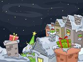 Illustration Featuring a Christmas Village with Gifts on Their Chimneys