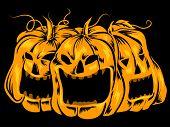Halloween-Themed Illustration Featuring Creepy Jack-o'-Lanterns