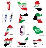 stock photo of sate  - Flags of Gulf Sates overlaid on outline maps isolated on white background - JPG