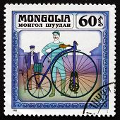 Postage Stamp Mongolia 1982 Kangaroo, 1877, Historic Bicycle