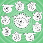 Funny Cartoon Piglet Faces Around Big Pig Face