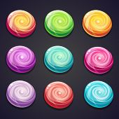 Set of candies of different colors for computer games
