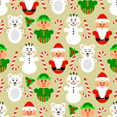 Christmas seamless pattern with characters, beige