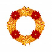 Christmas Wearing Straw Wreath With Poinsettia