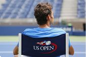 Seventeen times Grand Slam champion Roger Federer during practice for US Open 2014