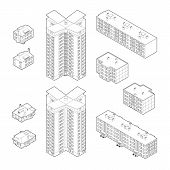 Black and White Isometric Dwelling Buildings