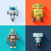 stock photo of robotics  - Set of four colored toy robots - JPG