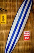 surf board against  bamboo wall