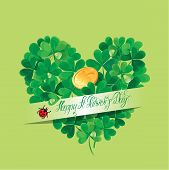 Holiday Card With Calligraphic Words Happy St. Patricks Day And Shamrock Heart With Golden Coin On G