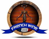 French Wine - Wooden Icon
