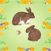 Seamless Texture Rabbit  And Easter Eggs Vector