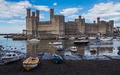 View on Caernarfon Castle from the other side of the river Seiont