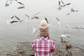 Little girl feeding birds on the lake in winter