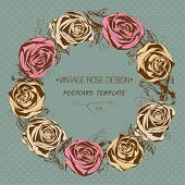 Greeting card with floral wreath. Vintage style. Vector