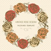 Vintage rose wreath. Vector greeting card