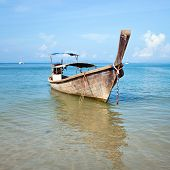 Boat and Tropical beach, Andaman Sea, Thailand