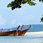 Boats and Tropical beach, Andaman Sea, Thailand