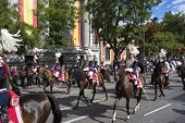 MADRID, SPAIN - OCTOBER 12, 2014:  Spanish Royal Guard cavalry (Guardia Real)